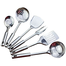 6 Piece Kitchen Utensil Set Stainless Steel Kitchen Cooking Tools High-grade Kitchen Utensils Kitchen Accessories Porridge Spoon Spatula Set