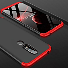 GKK Three Stage Splicing Full Coverage PC Case for Nokia X6 (2018) / 6.1 Plus (Black+Red)