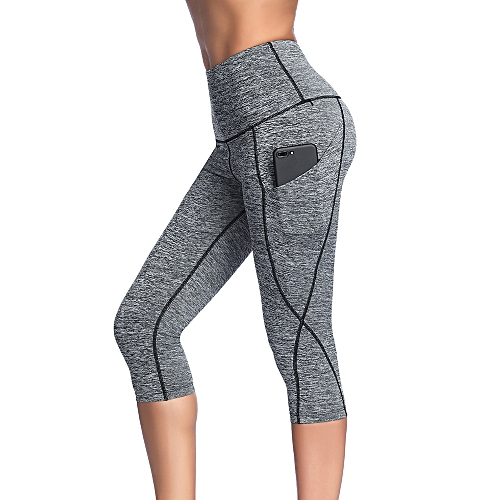 dea595049e Generic Women's High Waist Capri Yoga Pants Tummy Control Workout Running 4  Way Stretch Yoga Leggings Tights with Pocket