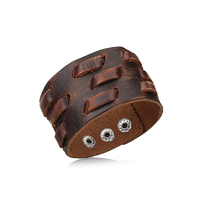 Fashion Men Wide Leather Bracelet Brown Cuff Bracelets And Vintage Punk Jewelry