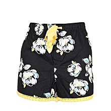 Black  Flower Print Boxer Shorts – Sleep Wear