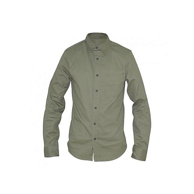 Olive Green Long Sleeved Mens Basic Shirts