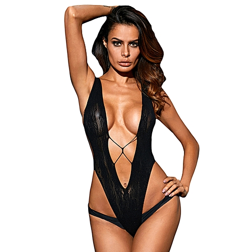 810a158080 Generic New Sexy Lingerie Women Sultry V Shape Sheer Lace Bodysuit Hollow  Out Backless Erotic Teddy One Piece Black