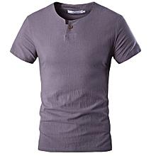 Men's Short Sleeve Linen Casual T-shirt (Grey)