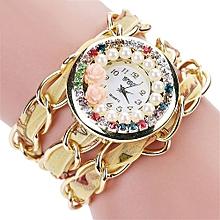 Fashion Women Vintage Rhinestone Crystal Bracelet Dial Analog Quartz Wrist Watch