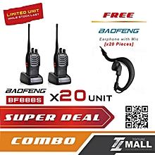 BAOFENG BF-888S Walkie Talkie Two-way Portable CB Radio [20 UNIT] + FREE Earphone [20 UNIT]