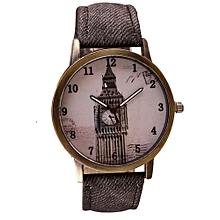Tectores 2018 Fashion Multifunction Retro Clock Tower WristWatch Cowboy Leather Band Analog Quartz Watch