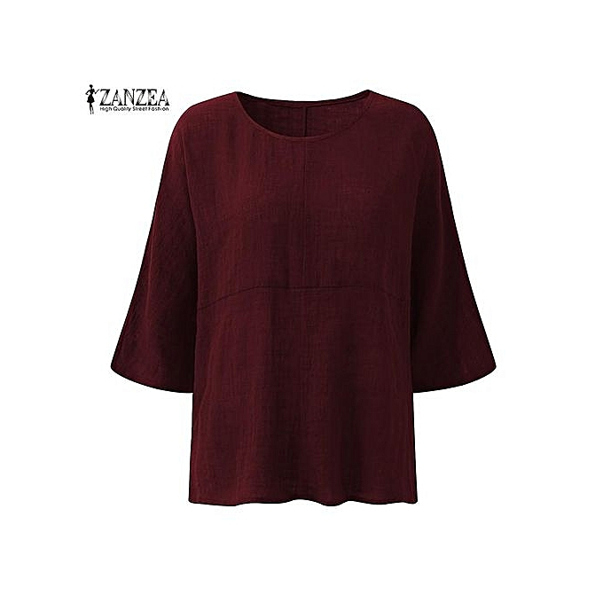 35ef474348c ... ZANZEA Crew Collar Three Quarter Sleeve Blusas Female Autumn Purple  Leisure Irregular Stripe Cotton Stylish Long ...
