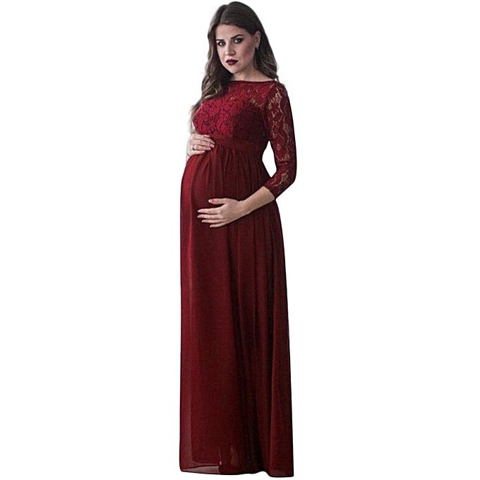 d12200ea8b04f ... Women Maternity Dress Lace Long Sleeve Pregnant Photo Shoot Party Gown  Photography Maxi Dress Black/ ...