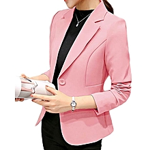 New ladies casual wild suit long-sleeved slim slimming short coat-pink