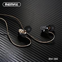 LEBAIQI REMAX RM-580 In-ear 3.5mm Plug Wire Control Earphone With Mic [Dual Dynamic Drivers]