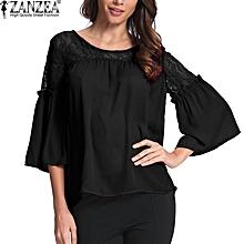 ZANZEA Women Lace Shirts Autumn Hollow Out Chiffon Blouses Casual Loose O Neck Flare Sleeve Blusas Femininas Tops (Black)