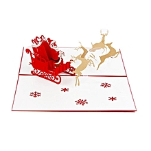 3D Deer Car Card Pop Up Handcrafted Christmas Greeting Cards For Festival red
