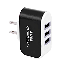 CO Candy Color 3USB Charger Travel Wall Adapter Power Supply-black