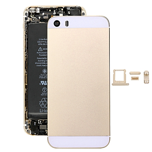 5 in 1 for iPhone SE (Back Cover + Card Tray + Volume Control Key + Power  Button + Mute Switch Vibrator Key) Fullembly Housing Cover(Gold)
