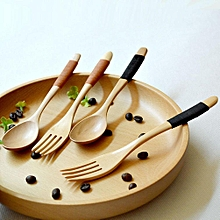 Wood 2 Pcs Spoon And Fork Dinnerware Sets Flatware Sets Wooden Spoon Fork Flatware Set