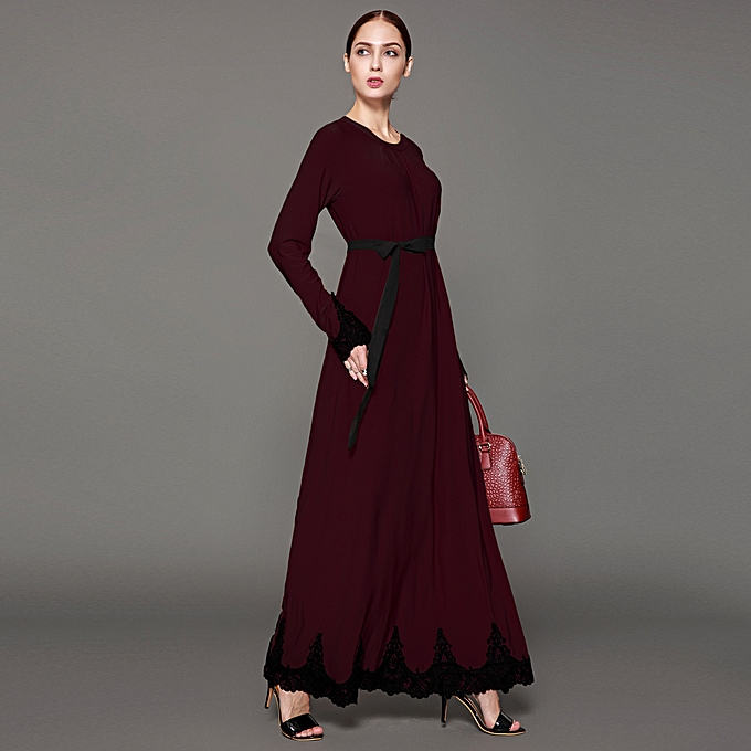b156d380ee6 Women Muslim Maxi Dress Contrast Lace Long Sleeve Abaya Kaftan Islamic Arab  Robe Belted Long Dress