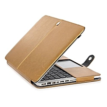 """13"""" Pro With CD-ROM Case, One-piece Design Soft PU Leather Cover For 2008-2012 Macbook Pro 13.3 Inch, Gold"""