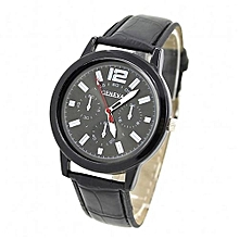 Fohting Geneva Women Faux Leather Analog Quartz Wrist Watch BK -Black
