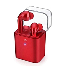 Wireless Earbuds, Bluetooth Sports Headphone Twins In-Ear Stereo Earphone Headset with Mic and Charging Box - Red