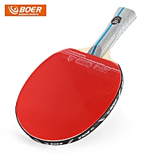 Outdoor 1 Star Table Tennis Rubber Ping Pong Racket Paddle With Storing Bag - Red With Black