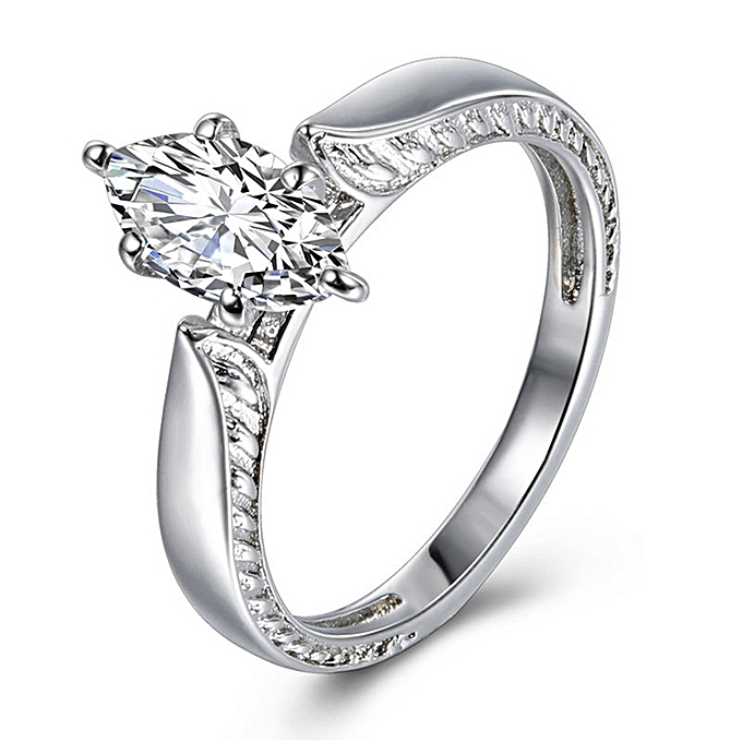 f04750e0a50f3 Exquisite Women's Silver Ring Diamond Band Rings Engagement Ring