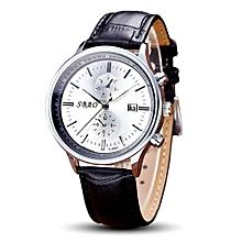 SBAO Fashionable Personality Trends Calendar High-grade Business Belt Watch     - White