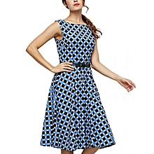 Allover Dot Print A-line Dress - Deep Blue