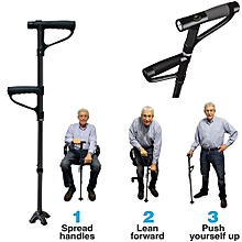 Folding Walking Standing Cane Black Stick With Torch Light Height Adjustable