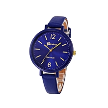 Geneva Women Faux Leather Analog Quartz Wrist Watch-Blue