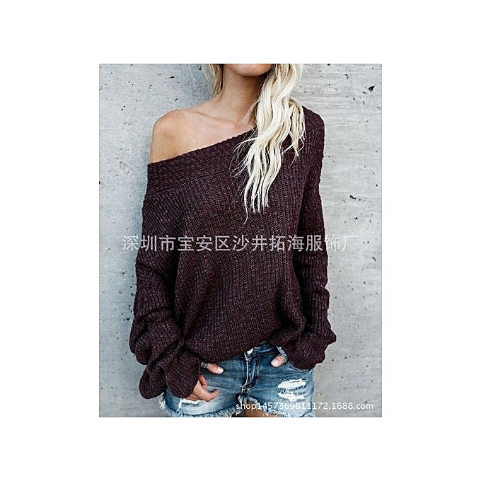 ecbfb2516677b0 YOINS Women New High Fashion Clothing Casual Long Sleeve Off The Shoulder  Loose Fit Grey Sweater
