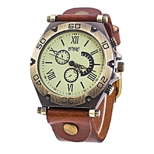 Fohting CCQ Brand Leather Vintage Watch Men Women Wristwatch Quartz  -Coffee