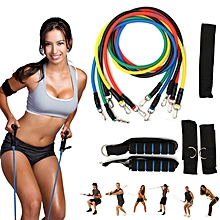11Pcs Set Yoga Band Latex Resistance Tube PGym Fitness Pilate Exercise Workout
