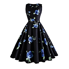 huskspo Women Vintage Printing Sleeveless Casual Evening  Prom Swing Dress