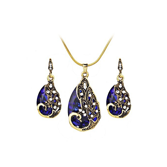 3a6484a48 Women's Earring Peacock Jewel Ornaments Necklace Ear Studs Jewellery-Blue