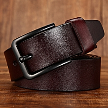 Men's leather belt wild black buckle leather belt men's pin buckle belt-105CM-brown