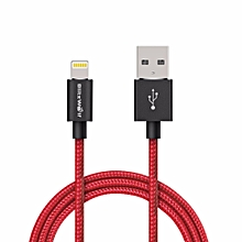 BlitzWolf Lightning To USB Braided Data Cable 3.33ft/1m for iPhone 6 6Plus 5 (Black/Red)