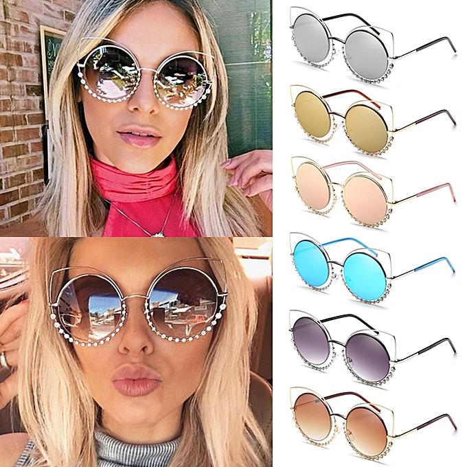 7b67d94405d ... adies Womens Retro Vintage Cat Eye Eyeglasses Round Glasses Fashion  Sunglasses
