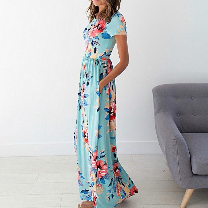7f15badcb8798 Hiaojbk Store Women Summer Dress Short Sleeve Floral Print Beach Party  Casual Long Dress -Blue