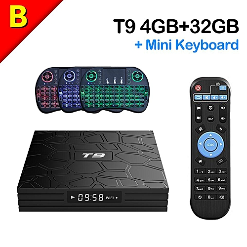 (Pre-installed Local channels) PULIERDE T9 4GB 32GB Android TV BOX RK3328  Quad Core Android 8 1 USB3 0 Port Bluetooth4 0 HDR+ - H 265 - 3D Blue-ray -