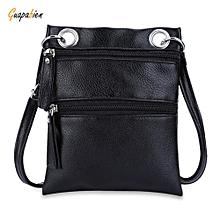Guapabien Double Zippers Solid Color Ladder Lock Shoulder Messenger Bag