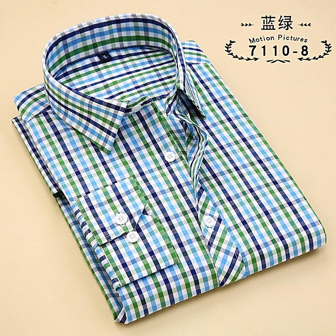 5ba6c3b631a Large Size mens plaid casual shirts long sleeve 100% cotton dress shirt men  retro style camiseta masculina-7110-8