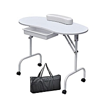 White Portable and Foldable Nail Manicure Table