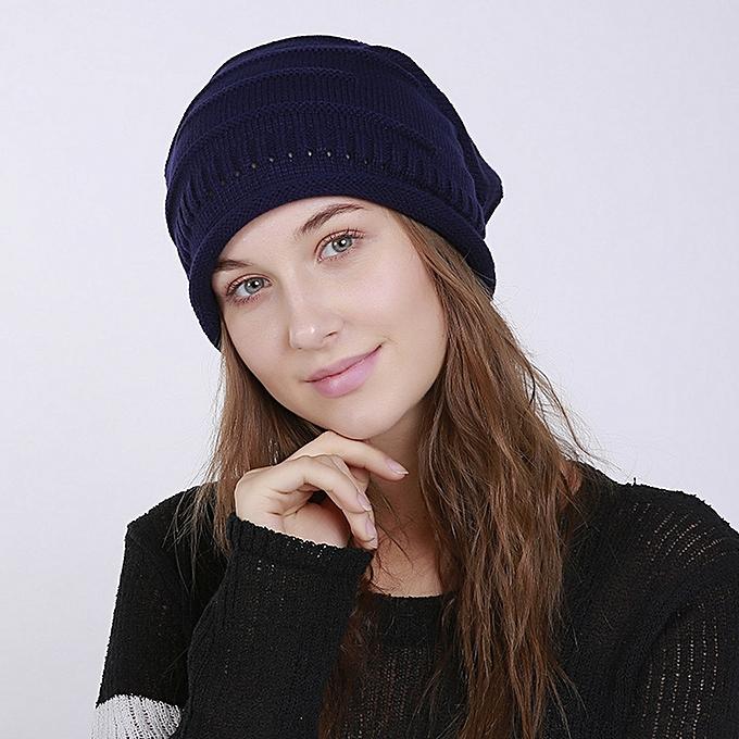 singedanMen s Women s Knit Baggy Beanie Solid Fashion Winter Hat Ski  Slouchy Chic Cap -Dark Blue 38786fb91e