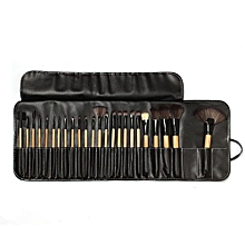 Eastman 24 PC Wood Makeup Brushes Cosmetic Make Up Set Kit Pouch Bag Black Stylish