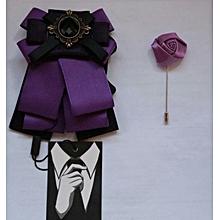 Brooch Butterfly Bow Tie Plus a Matching Lapel Purple