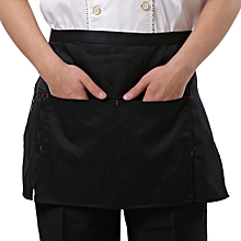 Simple Style Unisex Chef Waiter Barista Half Apron(Black)