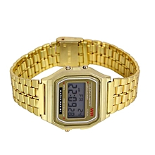 LED Digital Waterproof Quartz Wrist Watch Dress Men Women Golden Wrist Watch