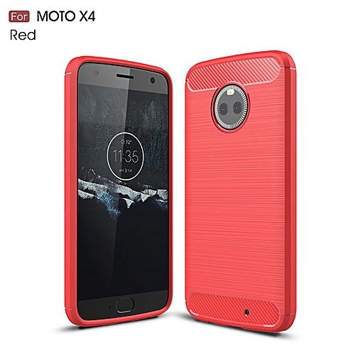 super popular eb153 36f89 For Motorola Moto X4 Case Shockproof Carbon Fiber TPU Drawing Material  Phone Cases Cover For MOTO X4 Protective Back Cover Case (Red)