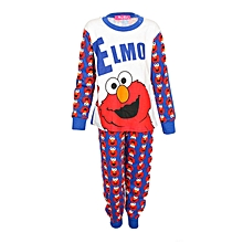 White/Red/Blue Boy's Pajamas With Elmo Print